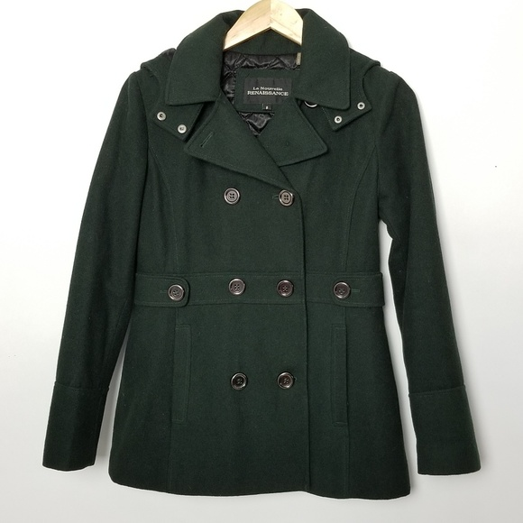 be077418ac3 La Nouvelle Renaissance Jackets   Blazers - Wool Blend Hooded Forest Green  Hooded Peacoat